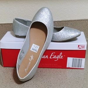 American Eagle silver glitter ballet flats
